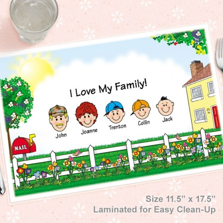 Family Caricature Laminated Placemat