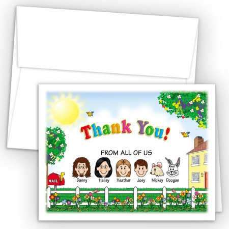 Fence Foldover Family Thank You Card