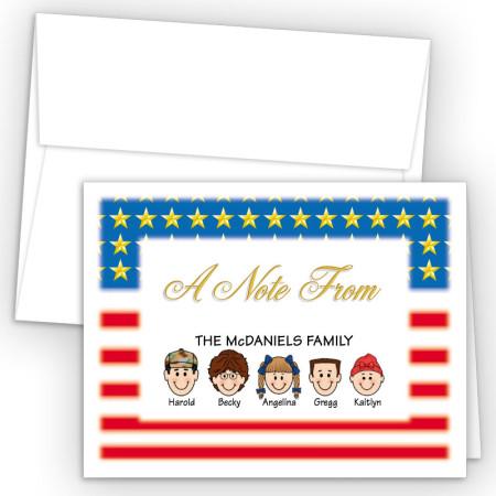 Flag Foldover Family Note Card
