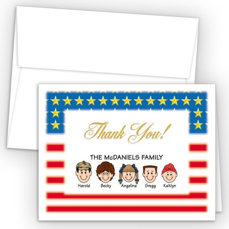 Flag Foldover Family Thank You Card