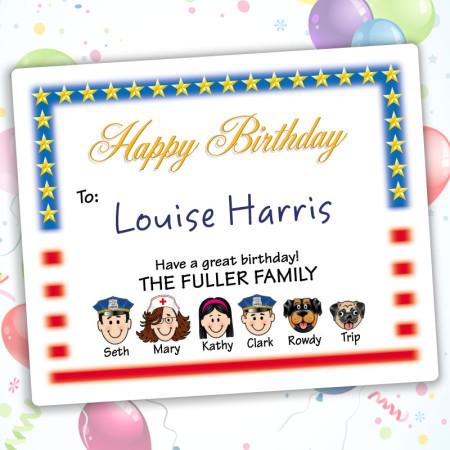 Flag Happy Birthday Gift Labels