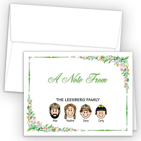 Floral Foldover Family Note Card