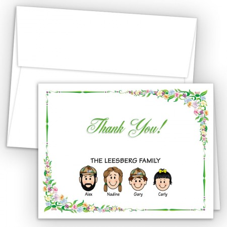 Floral Foldover Family Thank You Card