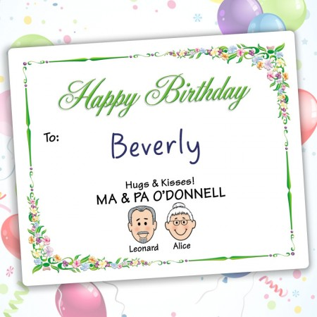 Floral Happy Birthday Gift Label