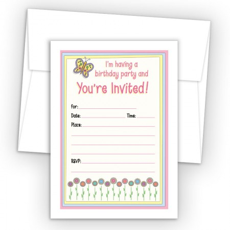 Flowers Fill-In Birthday Party Invitations