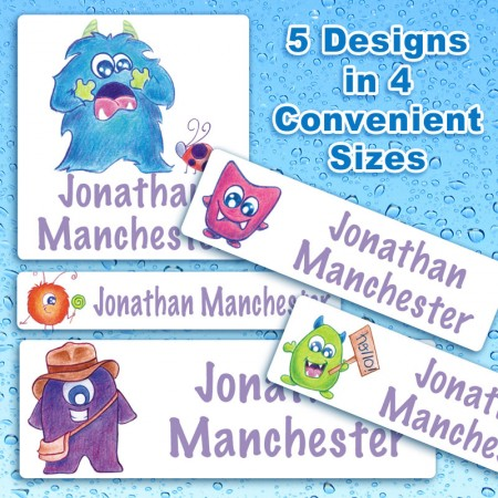 Friendly Monsters Waterproof Name Labels For Kids