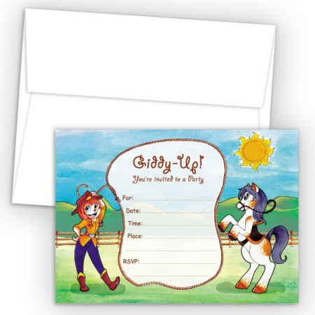 Giddy Up Fill-In Birthday Party Invitations