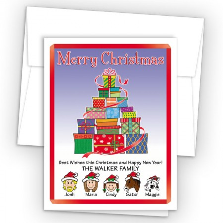Gift Tree Merry Christmas Holiday Fold Note Head