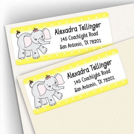 Girl Elephant Address Labels