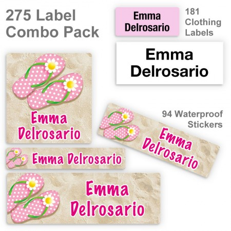 Girl Flip Flops Label Combo Pack