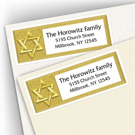 Gold Star of David Address Labels