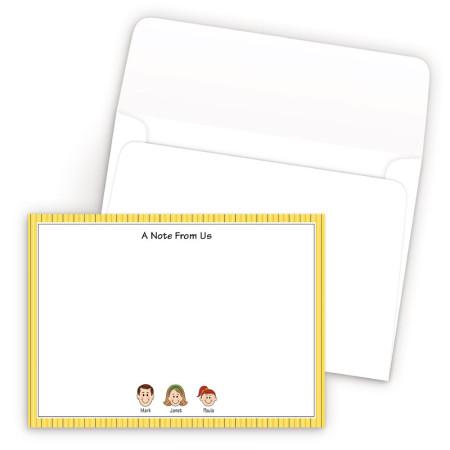 Gold Stripes Bordered Family Correspondence Card