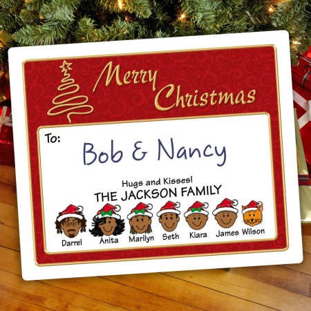 Gold Tree Christmas Gift Label
