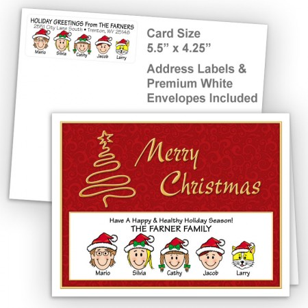 Gold Tree Merry Christmas Fold Note Set