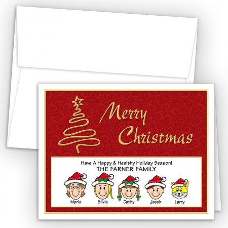 Gold Tree Merry Christmas Holiday Fold Note Head