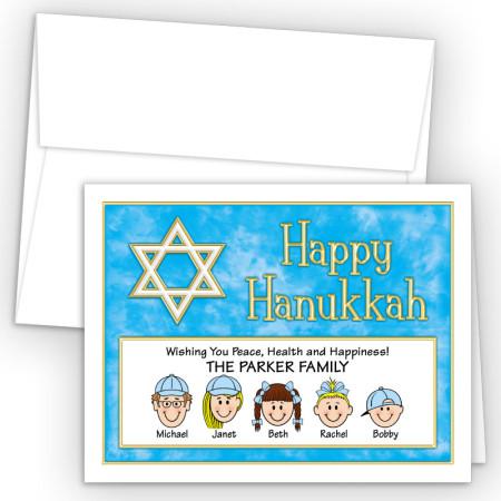 Gold White Star Happy Hanukkah Holiday Fold Note Head