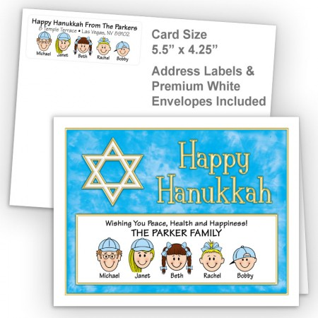 Gold White Star Happy Hanukkah Fold Note Set