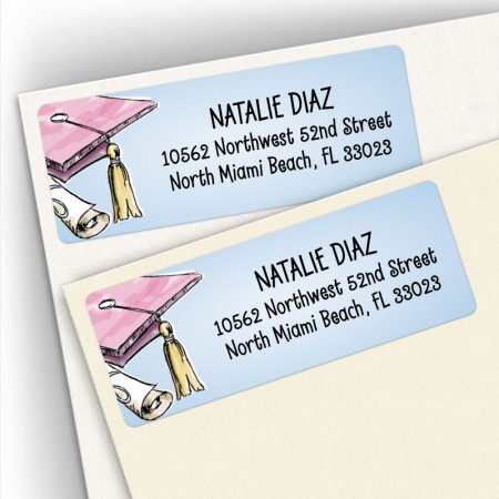 Graduation Hat Address Labels