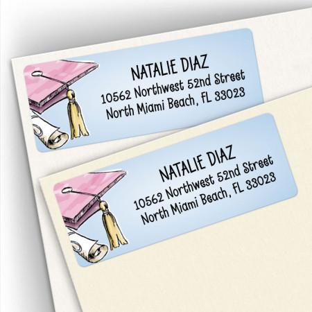 Graduation Hat Address Labels