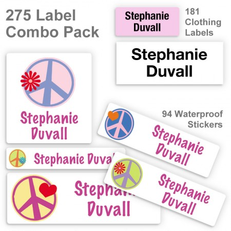 Graphic Peace Signs Label Combo Pack