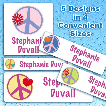 Graphic Peace Signs Waterproof Name Labels For Kids