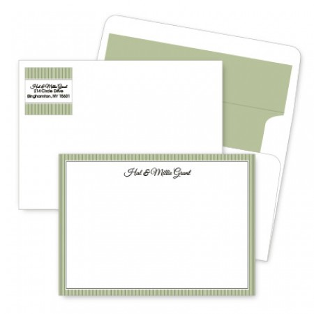 Green Stripes Artistic Correspondence Card Ensembles