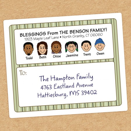 Green Stripes Family Shipping Label