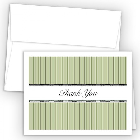 Green Stripes Thank You Cards