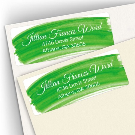 Green Watercolor Address Labels