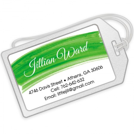 Green Watercolor Luggage Tags