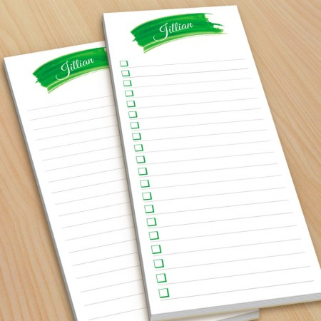 Green Watercolor To-Do Pads - with magnets