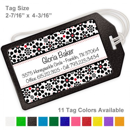 Groovy Black Flowers Luggage Tag