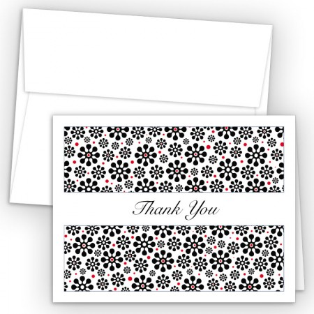 Groovy Flowers Black Thank You Card