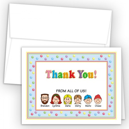 Gumballs Foldover Family Thank You Card