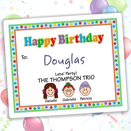 Gumballs Happy Birthday Gift Label