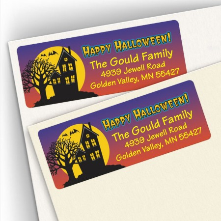 Halloween Haunted House Address Labels
