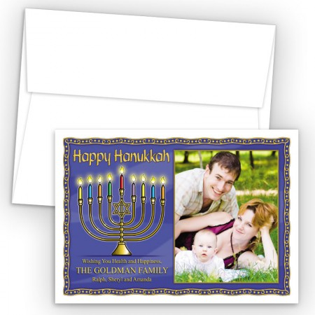 Hanukkah Menorah 1 Photo Upload Holiday Card