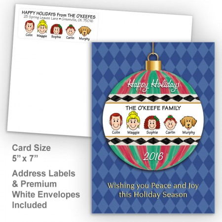 Happy Holiday Ornament Style H Holiday Card Set