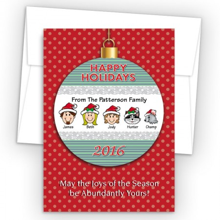 Happy Holiday Ornament Style H Holiday Cards