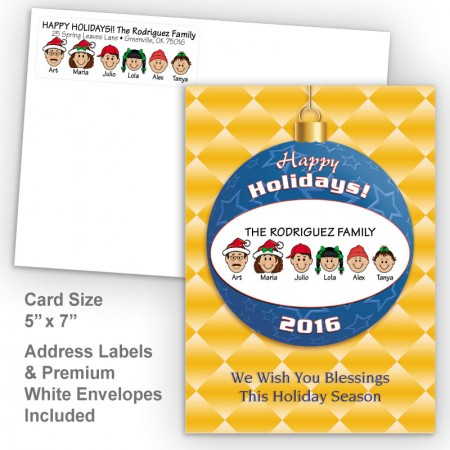 Happy Holiday Ornament Style J Holiday Card Set