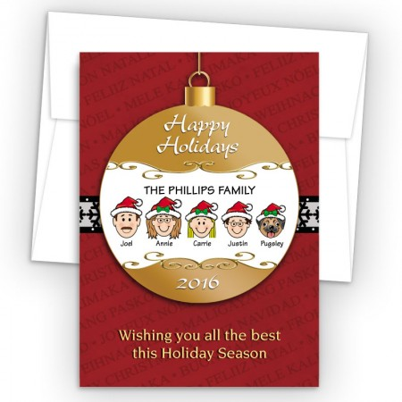 Happy Holiday Ornament Style K Holiday Cards