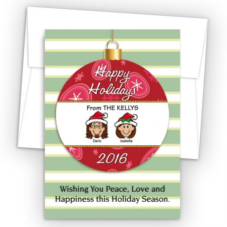 Happy Holiday Ornament Style L Holiday Cards