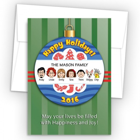 Happy Holiday Ornament Style M Holiday Cards
