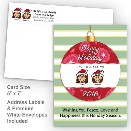 Happy Holiday Ornament Style N Holiday Card Set