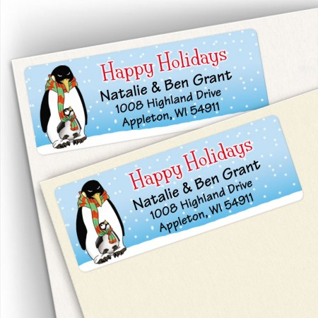 Happy Holiday Penguin Address Labels
