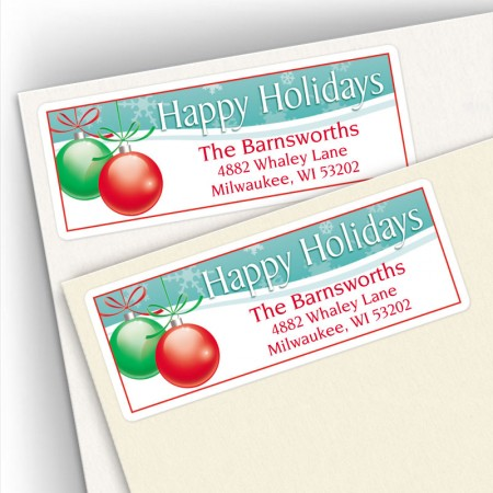 Happy Holidays Bulbs Address Labels