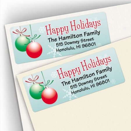 Happy Holidays Bulbs Snowflakes Address Labels