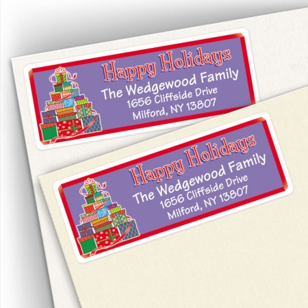 Happy Holidays Gift Tree Address Labels