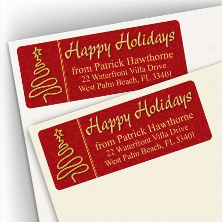 Happy Holidays Gold Tree Address Labels
