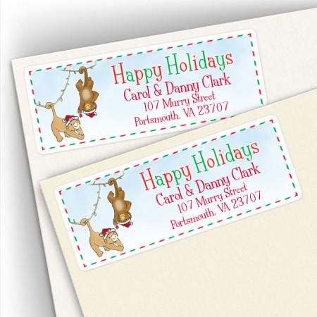 Happy Holidays Monkeys Address Labels